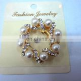 newest fashion alloy diamond ring brooch pin
