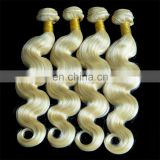 Best quality 8A 10''-30'' #613 bleach Blonde Brazilian Remy Human Hair body wave weaves wavy extensions machine weft