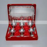 Silver Plated Brass Ice Cream Bowl, Goblets Set of Six With Spoons and Serving Tray