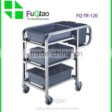 Service Equipment Restaurant Hotel Product 4 Wheel 3-tier Stainless Steel Service Trolley With Square Tub                                                                         Quality Choice