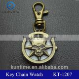 Bronze skull head keychain quartz analog watches