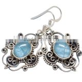 AQUAMARINE EARRING ,925 sterling silver jewelry wholesale,WHOLESALE SILVER JEWELRY,SILVER EXPORTER,SILVER JEWELRY FROM INDIA