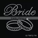 DIY Rhinestone Iron On Transfer Hot Fix Motif Crystal Bride letters with Bracelet pattern
