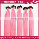 Top Quality No Shedding No Tangle No Dry Super Remy Human Hair Light Pink Hair Extensions