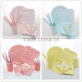 Manufacturer of Party Paper Tableware Set Chevron Paper Cups, Paper Plates, Paper Bags, Paper Straws, Wooden Utensil