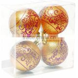Pack of 4pcs Glittered ball with handmade damask pattern decorating plastic christmas ball glass / plastic decorations