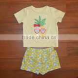 Fashion baby boutique clothing sets,girls T-shirts+girls shorts,100% cotton baby suit sets