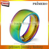 Classic Men Women Rainbow Colorful Ring Titanium Steel Wedding Band Ring Width 8mm Size 7-11