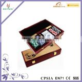 100 pieces chips in a wooden case with playing card and dice set