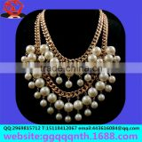 diy cheap gold clasps Broke Girls Tassel multilayer chunky synthetic white faux pearl necklaces