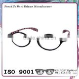 Retro style with pattern temples and metal hinge eyeglasses
