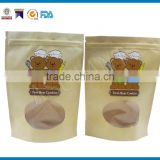 wholesale stand up pouch Kraft paper bag packaging with oval clear window for child milk powder