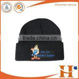 2015 New Fashion Customize embroidery logo knitted beanie hat winter hat
