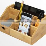 2015 new design 100% bamboo Organiser Tidy Stationery storage Box with drawer multifunction Desk Organiser                                                                         Quality Choice