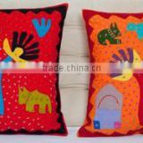 Traditional Patchwork Kantha Home Decor New embroidery design Square Shape Floral embroidered cushion cover From Jaipur