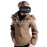Ladies two clothing set with down feather jacket in lining and windbreaker jacket out ladies fur parka