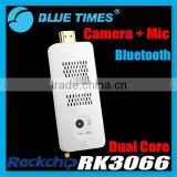 Portable Measy U2C Dual Core Android Mini PC Pre-installed XBMC TV Dongle Box with Camera Microphone Mic Bluetooth RK3066
