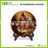 Environmental protection Jesus painted round shape plate color spray religious home decor,souvenirs,business gift