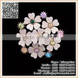 Artificial Six Flower Pink Crystal Brooch Wedding Bridal Corsage Brooch