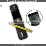 Single Piece Eyelash Extension Tweezers In Magnetic Button Pouch / Get Customized Designed Lashes Kits From ZONA PAKISTAN