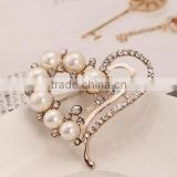New Peach Heart Pearl Rhinestone Crystal Brooch Pin Women Dress Jewelry