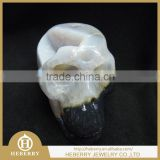 precious natural carved quartz rock clear crystal stone alien skull with geode good for collection