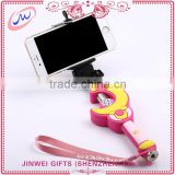 selfie stick with audio cable flexible cartoon camera monopod wired