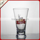 350ml glass cup drinking beer mug with horn mouth