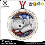 cheap custom 3d casting silver glitter insert soft enamel iron zinc alloy matte gold plated bowling sport medal of honor with ri