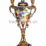 European Style Ceramic Beauty Prize Cup With Gilt Bronze, Porcelain Character Design Trophies, Antique Brass Large Urn Jar