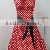 western sleeveless high waist midi gowns party wear A line polka dot printed dresses for fat girls 50's style dress