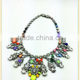 New arrival fashion acrylic bead chain multicolored flower shaped statement necklace
