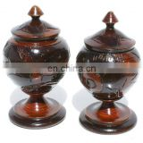 Haitian Wooden Vases Dark Brown Color with Traditional Ornament Handicrafts