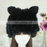 Black 100% acrylic handmade winter lady knitted beanies with rabbit fur