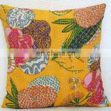 Yellow 16* Handmade Kantha Cushion Pillow Cover Throw work Embroidery Indian floral print kantha Decorative Ethnic art
