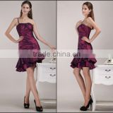 High Quality 2014 new youth one-shoulder spaghetti strap knee-length Party Dress with pleat and ruffle teenage party dress