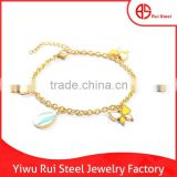 Hot charm gold plated jewelry for kids butterfly wrist bands 316L stainless steel animals bracelet