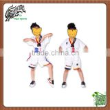customs kids shorts sleeve ribbed material taekwondo dobok
