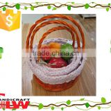 fruit basket with lining and handle,wedding fruit basket decoration,S/3 willow and wood chip gift basket