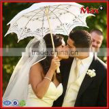 Handmade cotton fabric wooden handle lace wedding parasols                                                                         Quality Choice