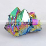 Rock and Gems titanium flame aura quartz crystal cluster healing stones cluster                                                                         Quality Choice