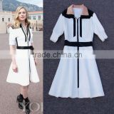 2014 Wholesale fashion brands half sleeve patchwork turn-down collar women dress model style with zipper in front P17131