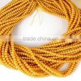 "5 Strands Rich Gold Glass Pearl Smooth 4.5mm Rondelle Beads,Acrylic Pearl beads,Jewelry Beads,Pearlized Beads,16"" Long"