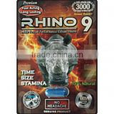 Black Rhino 9 Platinum 3000 Male Sex performance Enhancer Pill blisters cards/boxes for men