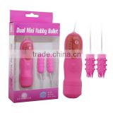 Hot selling 10 mode big size dual bullet vibrator , double bullet vibrator