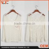 OEM Latest new style designs Anti-Shrink hand knitted multi colors sweater for baby girls