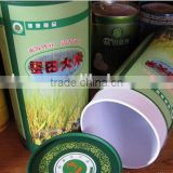 Promotional food packaging cardboard tubes for rice, paper tube box for brand rice, rice box round tubes