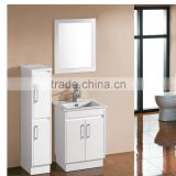 Two doors side cabinet Free standing integrated ceramic basin espresso solid wood bathroom vanity