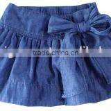 Lovely kids fashion design girlovely kids fashion design girls ws washed denim big bow skirts girl blue jeans 3/4 skirts facotry