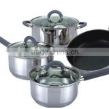 7pcs of stainless steel royalty line sonex amc cookware set
